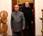 President Mukherjee during birthday celebrations of  L K Advani