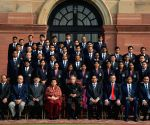 President Pranab Mukherjee during a meeting with Probationers of 64th Batch of the Indian Revenue Service