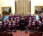 President Pranab Mukherjee with students from Ganderbal district of Jammu and Kashmir at Rashtrapati Bhavan