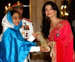 President Pratibha Patil presenting Padma Shri award 2009 to bollywood actress Aishwarya Rai Bachchan during Padma Awards ceremony at Rashtrapati Bhawan in New Delhi on Tuesday.
