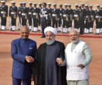 Ram Nath Kovind, Narendra Modi with Iran President Hassan Rouhani during the Ceremonial Reception
