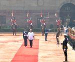 President Ram Nath Kovind, receives Sri Lankan President Gotabaya Rajapaksa, during his ceremonial reception