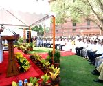 Narendra Modi meets officers and staff of Prime Minister's Office at South Block