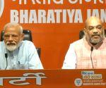 PM Modi, Amit Shah at a press conference