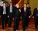 Modi arrives at the India-Singapore Economic Convention