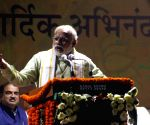 Narendra Modi addressing supporters at BJP party office
