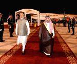 PM Modi arrives at Riyadh Airport in Saudi Arabia