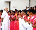 Varanasi (Uttar Pradesh): Anganwadi workers' welcome PM Modi