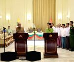 PM Modi delivers his statement during the joint media briefing