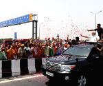 PM Modi during a roadshow after inaugurating Delhi-Meerut Expressway