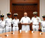 PM Modi meets INSV Tarini's crew