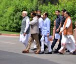 Prime Minister Narendra Modi with other leaders at BJP Parliamentary Party meeting