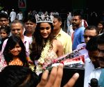 Miss India runner-up Priyanka Kumari at Patna airport