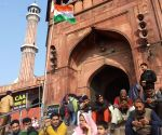Protests against CAA-NRC-NPR continue at Jama Masjid amid voting for Delhi Polls 2020