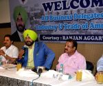 Navjot Singh Sidhu during a meeting with business leaders
