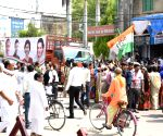 Rae Bareilly (UP): Congress supporters during  Sonia Gandhi's roadshow
