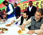 Jitan Ram Manjhi, Tejashwi Yadav, Upendra Kushwaha during a programme