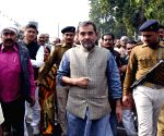 Upendra Kushwaha arrives at Kotwali police station