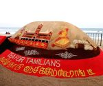 Renowned sand artist Sudarsan Pattnaik created a sand art installation for Tata Tea Chakra Gold as part of its brand initiative to celeberate the  pride of Tamil Nadu. The installation featured famous motifs and elements of TN's culture Source : TN_RP