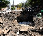 Road caves in at Bhairon Marg