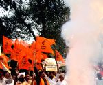 Right Wing Hindu activists demonstrate against ban on sale of fire cracker