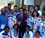 Rio de Janeiro: Sachin Sachin Tendulkar with Indian Olympic Team