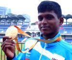Mariappan Thangavelu being felicitated at Kanteerava Stadium