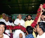 RJD chief during a party meeting