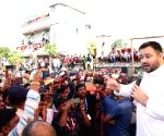 :Jamui: RJD Leader Tejashwi Yadav address party supporters during by-election campaign in Tarapur Assembly Contituency in Jamui
