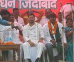 Khagaria (Bihar): Tejashwi Yadav, Mukesh Sahni at a public rally