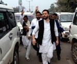 Tejashwi Yadav stuck in traffic jam