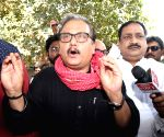 RJD's Manoj Jha talks to media persons