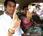 Bihar assembly polls - Phase -3 - Lalu Prasad Yadav and family
