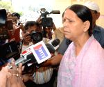 Rabri Devi talks to press