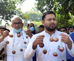 Tejashwi Yadav during RJD's protest against vegetable price hike