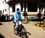 RJD leader Tejashwi Yadav riding a bicycle to Bihar Assembly on Friday as call for nationwide Bharat Bandh over fuel prices is raised