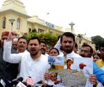 Tejashwi Yadav talks to media
