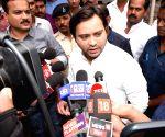 Tejashwi Yadav talks to the media