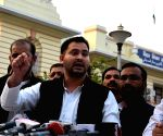 Tejashwi Yadav talks to press