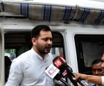 Tejaswi Yadav talks to press