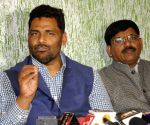 Pappu Yadav during a press conference