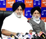 Free Photo:  SAD President Sukhbir Singh Badal addressing an press conference in chandigarh on Saturday.