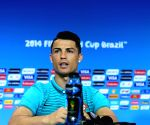 Portugal's Cristiano Ronaldo attends a press conference at the Arena Fonte Nova Stadium in Salvador