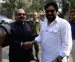 Samajwadi Party MP Amar Singh with Babul Supriyo at Parliament House