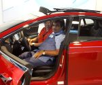 San Francisco: Nitin Gadkari at Tesla electric car manufacturing unit