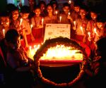 School children paying homage to the slain army jawans