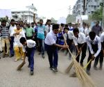 Students participate in a cleanliness drive