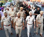 Security personnel conduct flag march ahead of the 35th anniversary of Operation Blue Star
