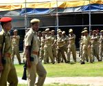 Scouts, Guides and Security personnel practicing parade for the Independence day