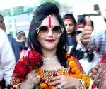 Radhe Maa seen at Sri Guru Ram Das Jee International Airport